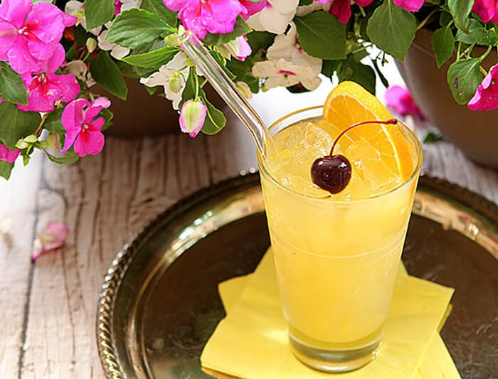 The Black-Eyed Susan Cocktail - Signature Cocktail for the Preakness Served on a Silver Tray