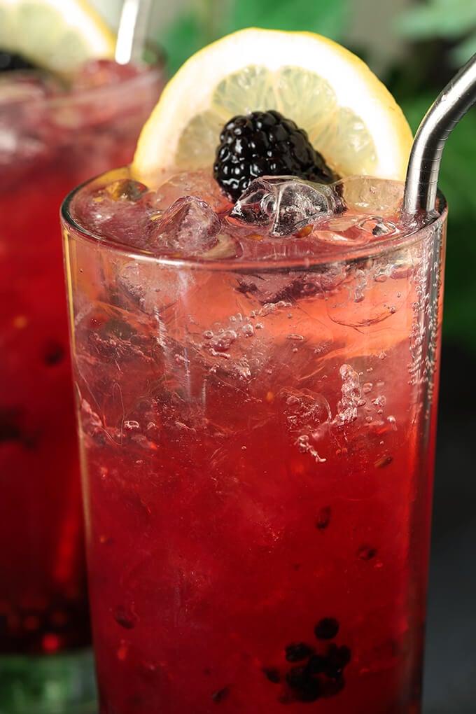 Blackberry Bourbon Collins Cocktail Closeup of Bubbles
