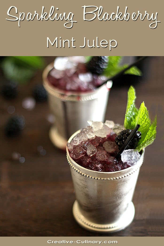 Sparkling Blackberry Mint Julep in a Silver Julep Cup