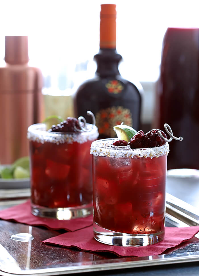 Blackberry Serrano Margarita Cocktails