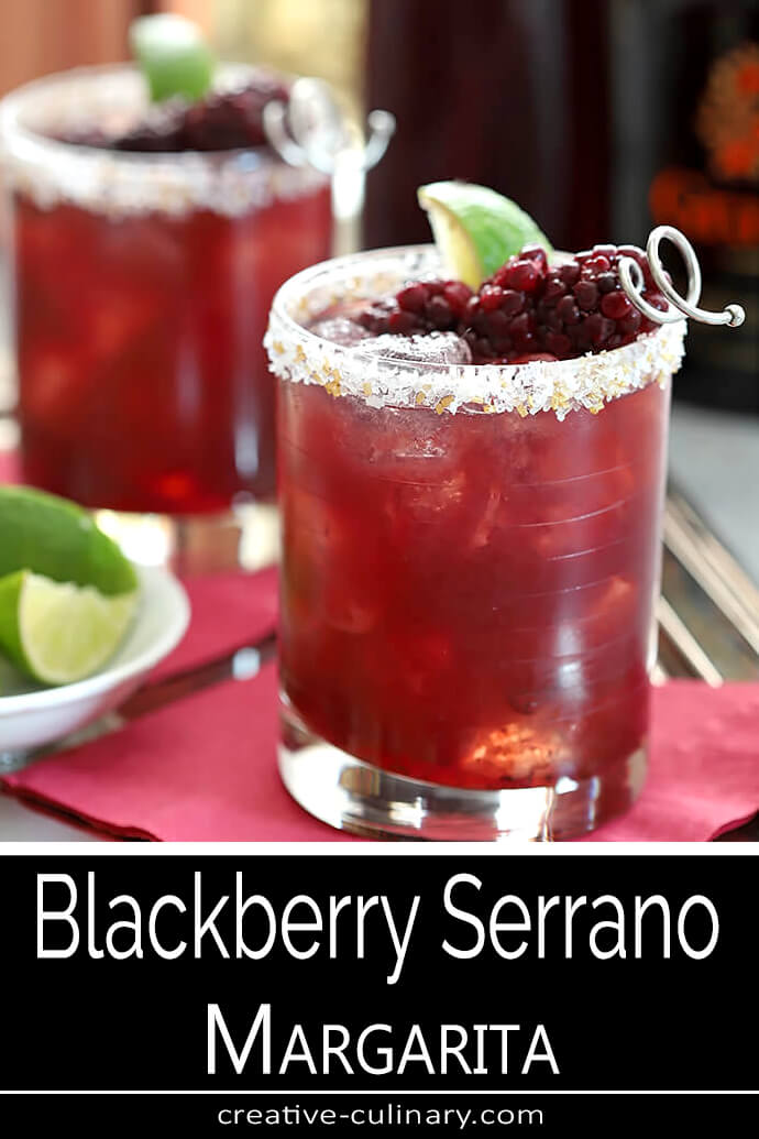 Blackberry Serrano Margarita Cocktails with Lime Wedge and Blackberry Garnish PIN