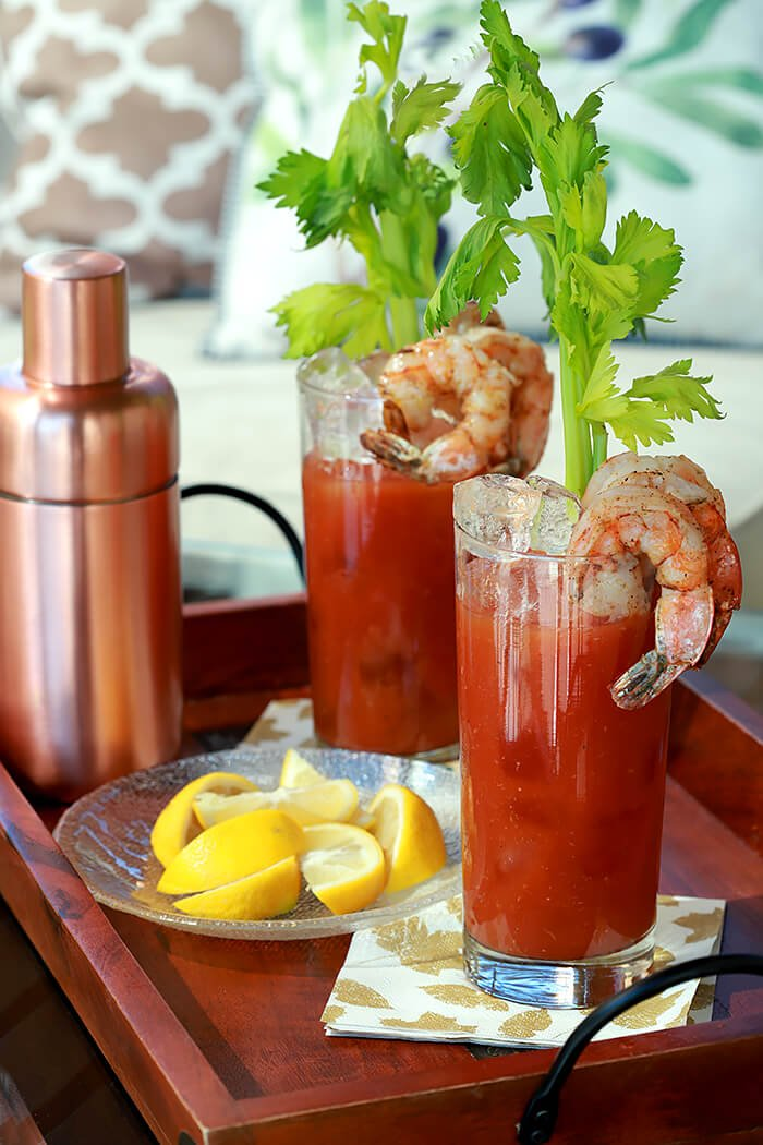 New England Bloody Mary Cocktails with Shrimp and Celery
