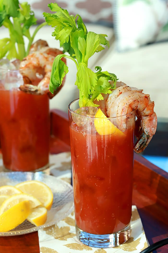 New England Bloody Mary Cocktail with Shrimp