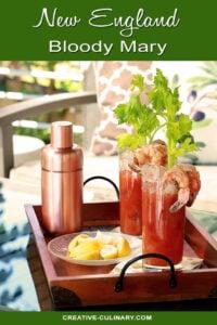 Tray of New England Bloody Marys Garnished with Shrimp, Lemon, and Celery