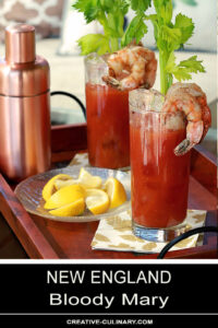 New England Bloody Mary Served on a Tray with Lemon