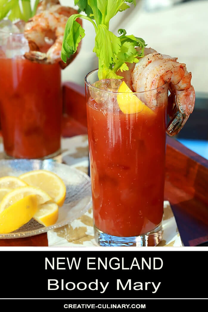 New England Bloody Mary Garnished with BBQ Shrimp and Lemon