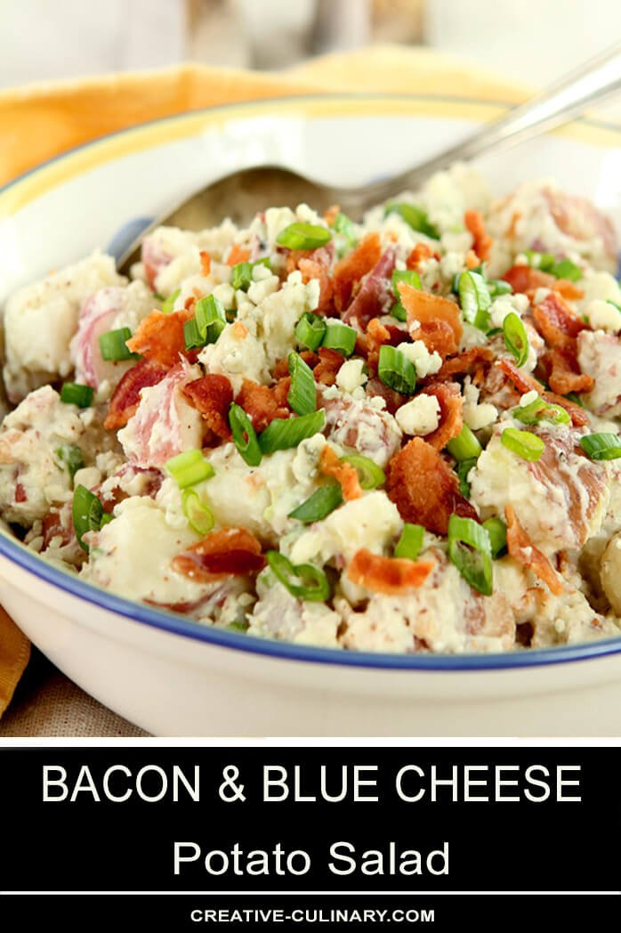 Bacon Blue Cheese Potato Salad in a Salad Bowl with Yellow and Blue Rim