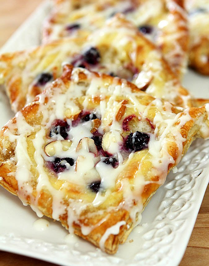Easy Blueberry, Cheese, and Almond Danish