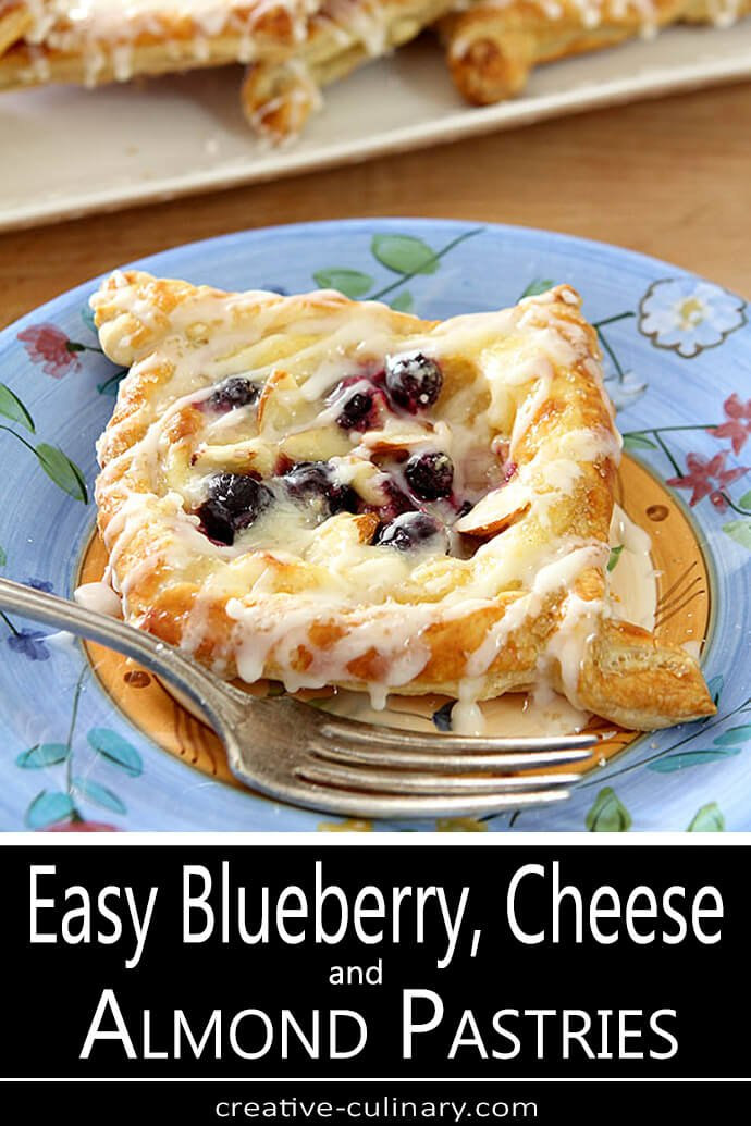 Blueberry, Cream Cheese, and Almond Danish on a Floral Blue Plate