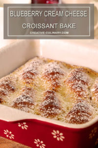 Blueberry Cream Cheese Croissant Bake in Red Casserole Dish