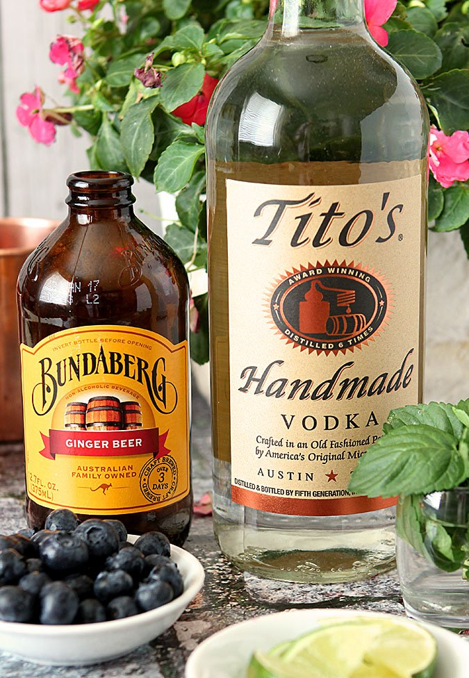 Blueberry Mint Moscow Mule with Tito's Vodka