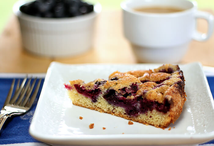 Closup of Blueberry Nutmeg Coffee Cake