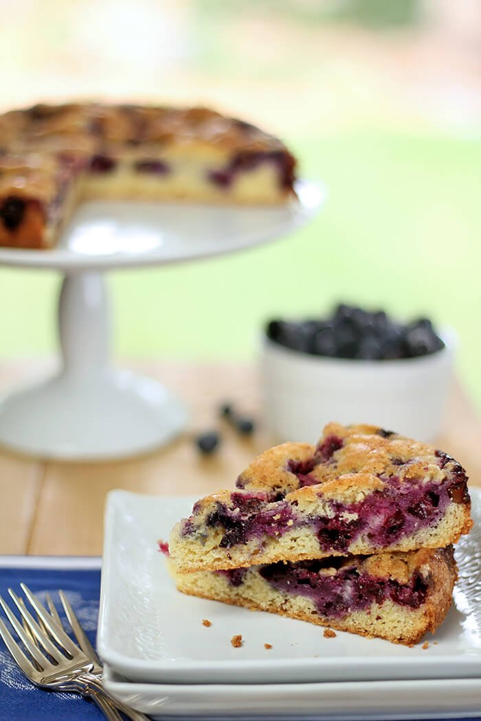 Blueberry Nutmeg Coffee Cake Served Outdoors on a Square Plate with Cake and Blueberries in Background