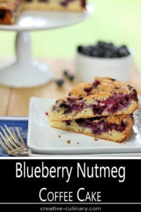 Blueberry Nutmeg Coffee Cake Served on White Square Plate