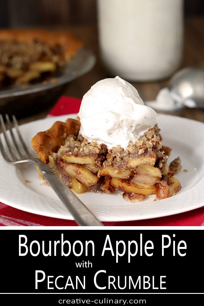 Bourbon Caramel Apple Pie with Pecan Crumble Ala Mode Served on a White Plate