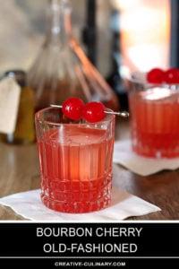 Bourbon Cherry Old Fashioned Cocktails with Maraschino Cherry Garnish