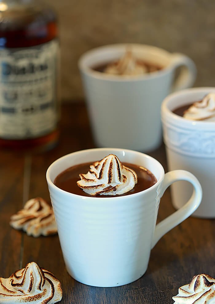Bourbon Hot Chocolate garnished with Meringues