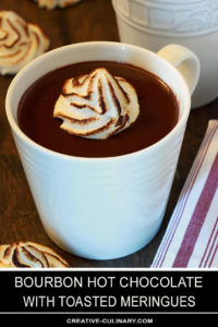 Bourbon Hot Chocolate with Toasted Meringue in a White Pottery Cup