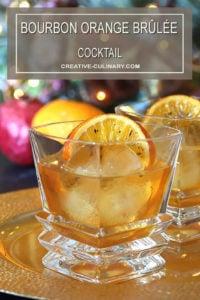 Bourbon Orange Brûlée Cocktail Closeup with Orange Garnish