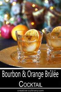 Bourbon and Orange Brulee Cocktail in a Square Cocktail Glass