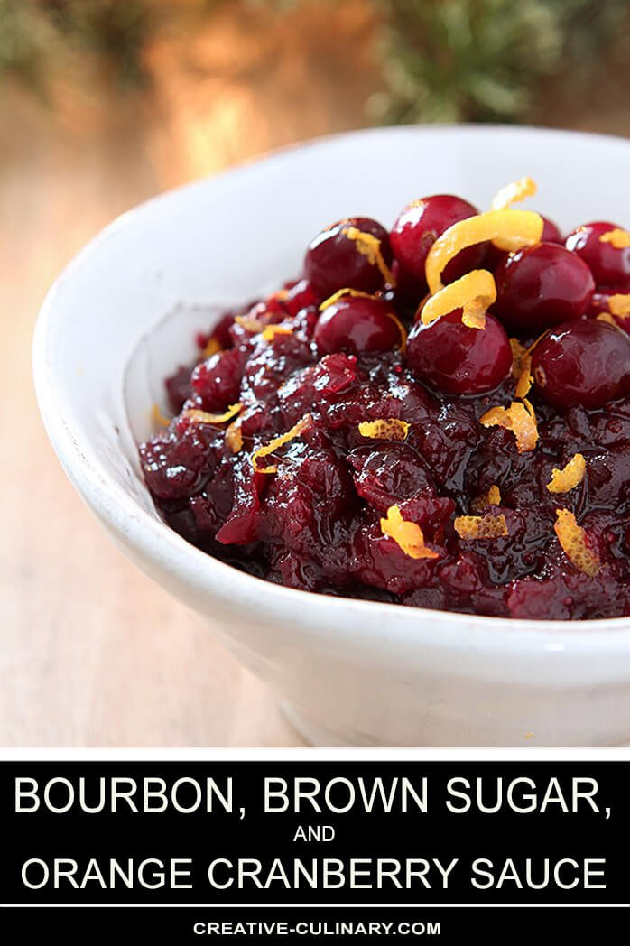 Bourbon, Brown Sugar, and Orange Cranberry Sauce in a White Serving Bowl