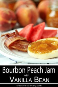 Plate of English Muffin with Bourbon Peach Jam alongside Watermelon and Bacon