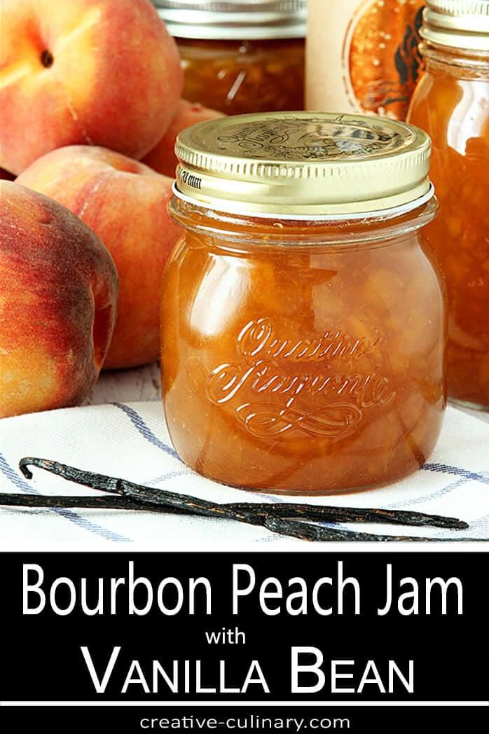 Jar of Bourbon Peach Jam with Vanilla Beans