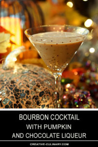 Bourbon Cocktail with Pumpkin and Chocolate Liqueur Served in a Gold Sparkle Martini Glass