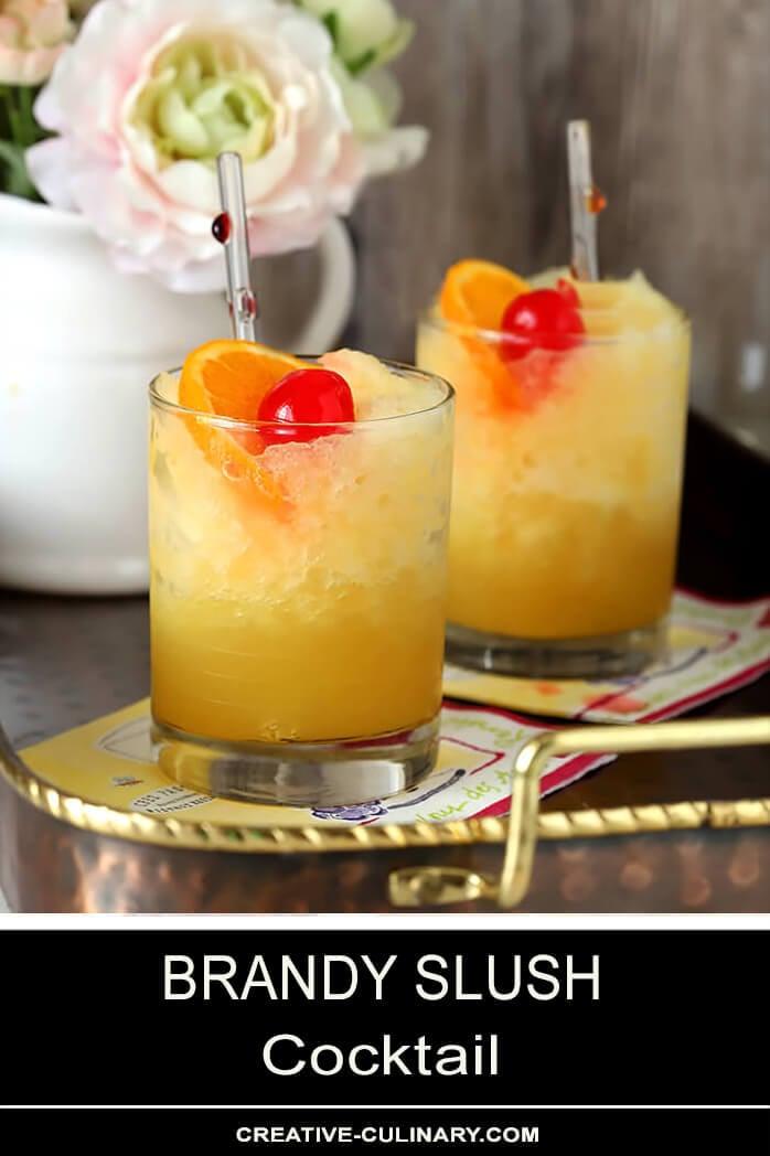 Brandy Slush Cocktails on Copper Serving Tray