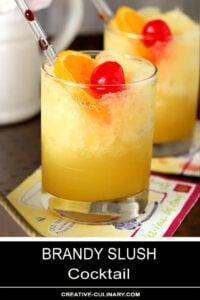 Brandy Slush Cocktails with Glass Straws and Fruit Garnish