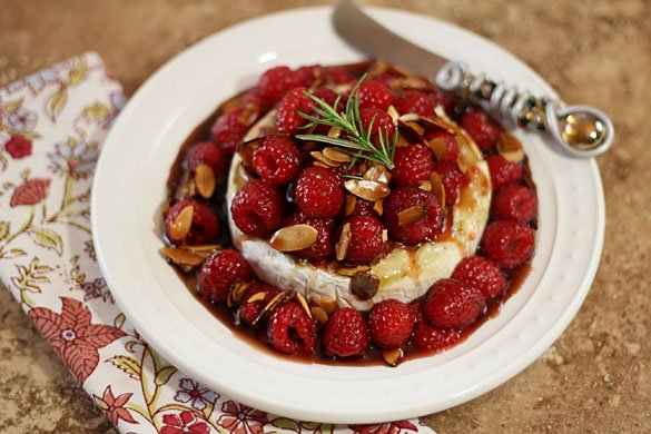 Warm Honey Brie with Raspberries