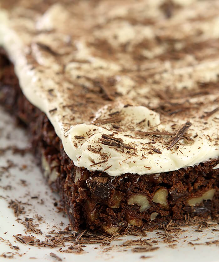 Platter of Chocolate Chip Brownies with Cream Cheese Frosting