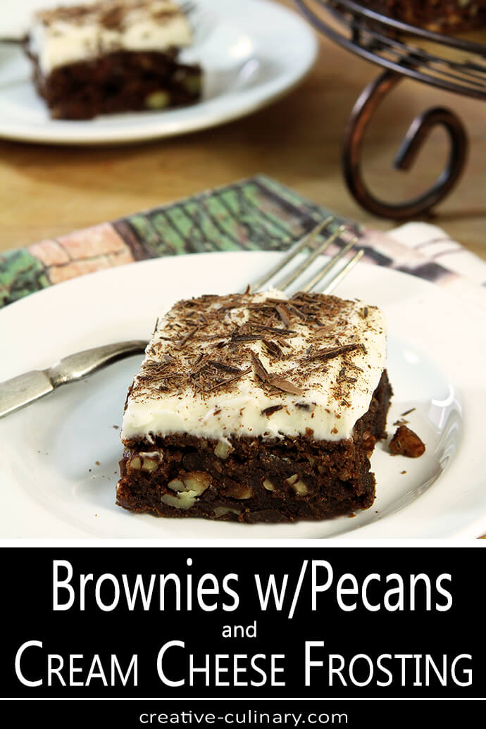 Chocolate Chip Brownies with Cream Cheese Frosting Slice PIN