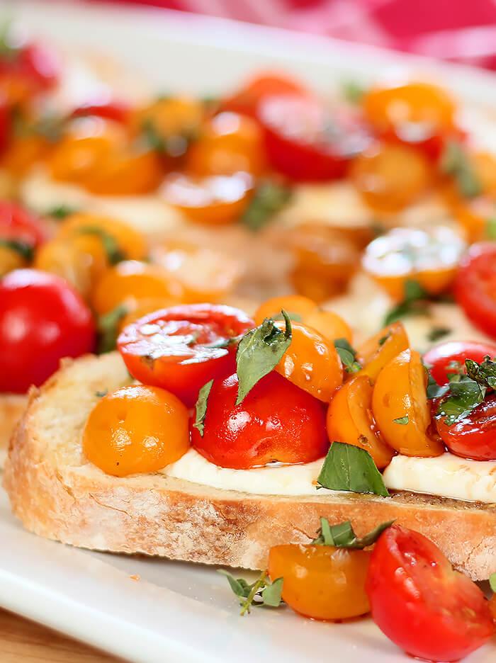 Platter of Tomato and Mozzarella Bruschetta