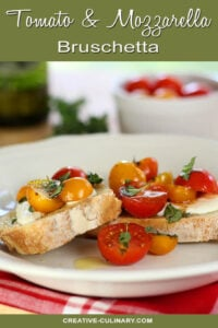 Tomato and Mozzarella Bruschetta on a White Serving Plate