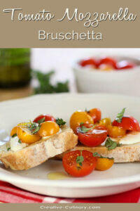 Plate of Warm Tomato Mozzarella Bruschetta