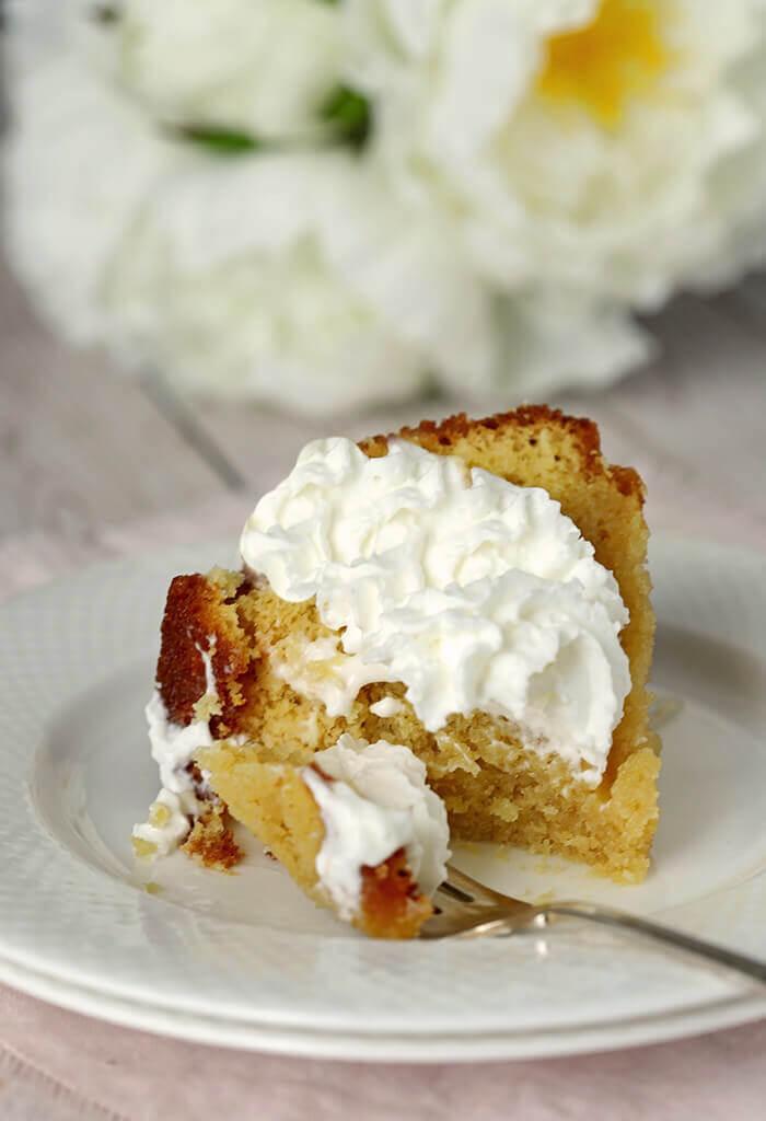 Slice of Rum Cake Slice with Whipped Cream