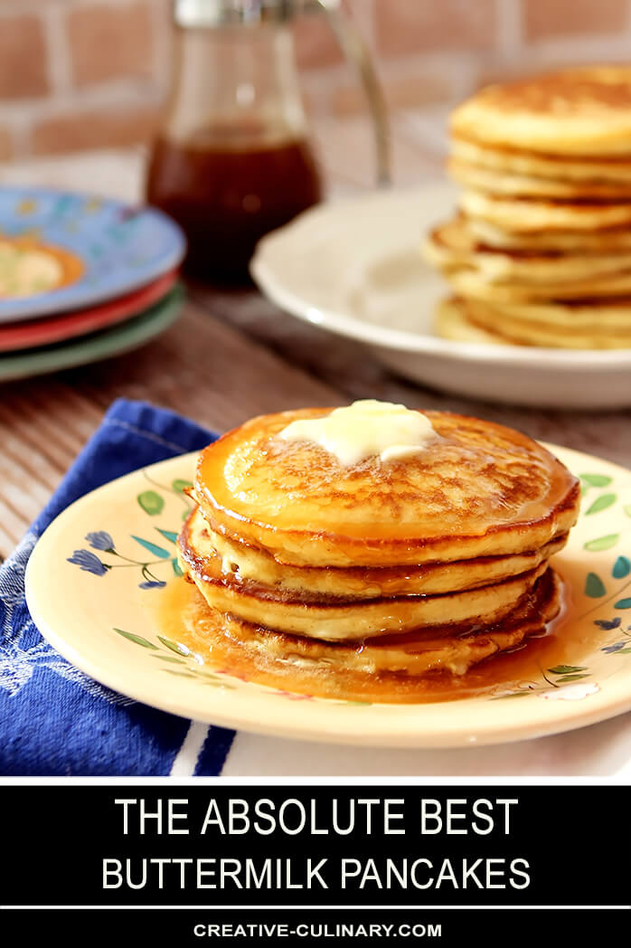 Stack of The BEST Buttermilk Pancakes with Butter and Syrup