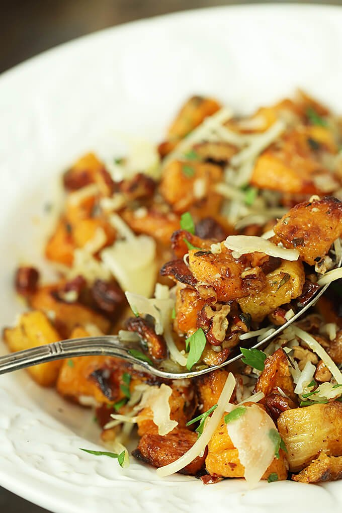 Closeup on a Spoon of Pecan and Parmesan Roasted Butternut Squash