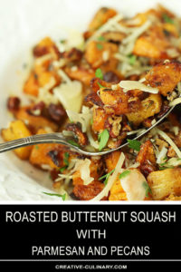 Roasted Butternut Squash with Pecans and Parmesan Closeup on Fork