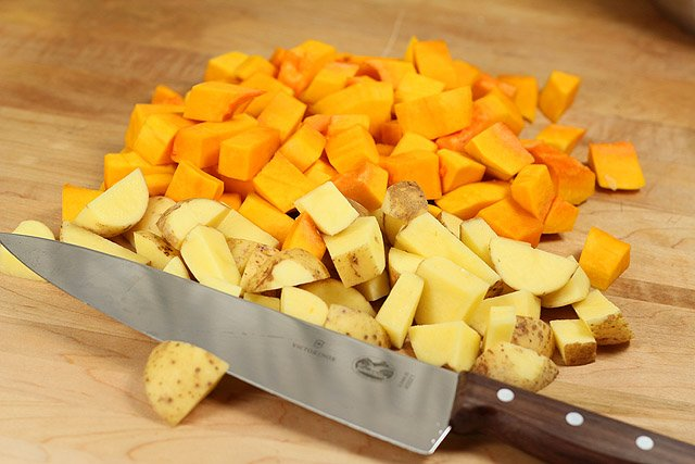 Cubed squash and potatoes for butternut squash, potato and roasted pepper soup