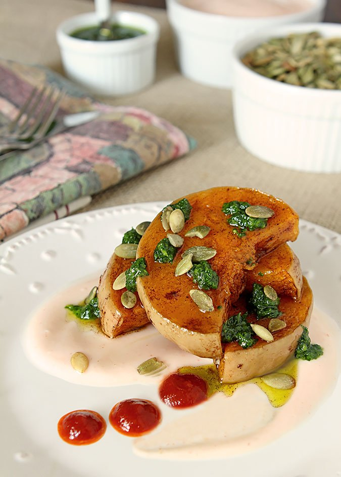 Butternut Squash with Chile Yogurt Sauce