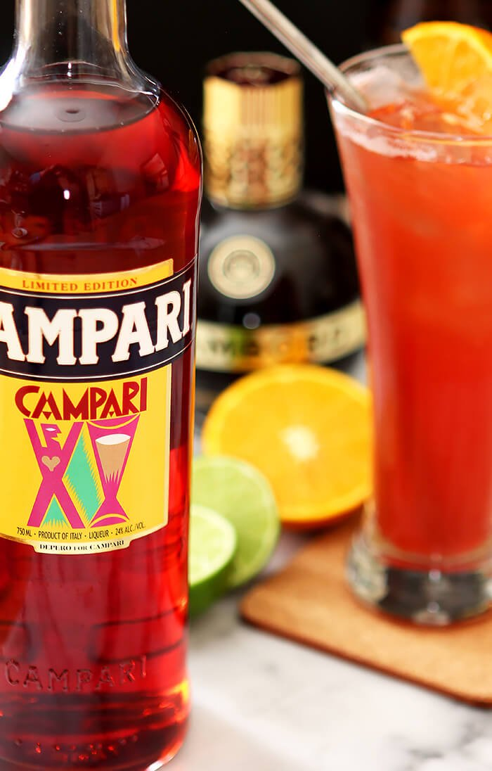 Summer Campari Cocktail with Bottle of Campari