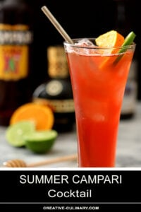 Summer Campari Cocktail with Fresh Fruit and Straw