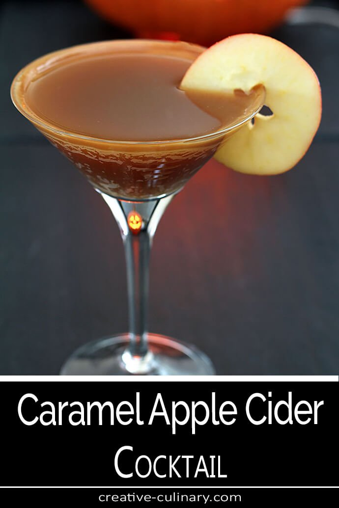 Caramel Apple Cider Cocktail Served in a Martini Glass with Apple Slice Garnish