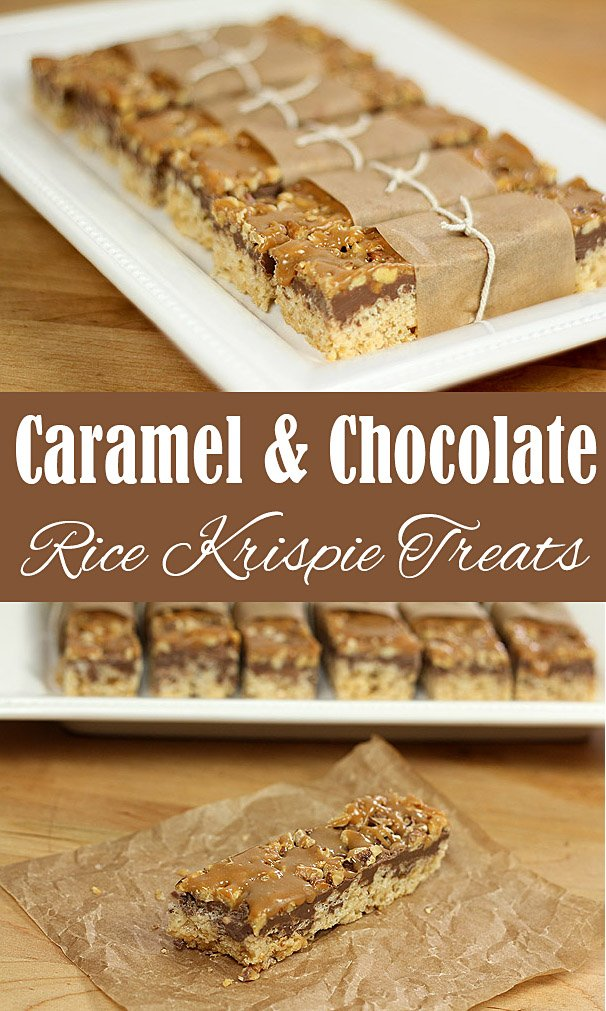 Caramel and Chocolate Rice Krispie Treats