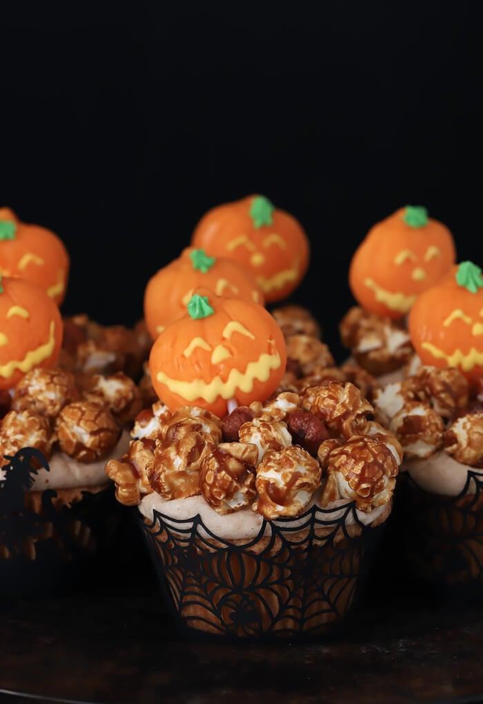 Caramel Corn Cupcakes Decorated with Halloween Pumpkin