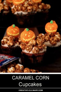 Caramel Corn Cupcakes Decorated with Halloween Pumpkin Suckers and Halloween Cupcake Wrappers