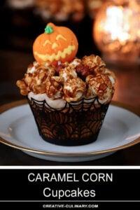 Single Caramel Corn Cupcake with Halloween Decoration