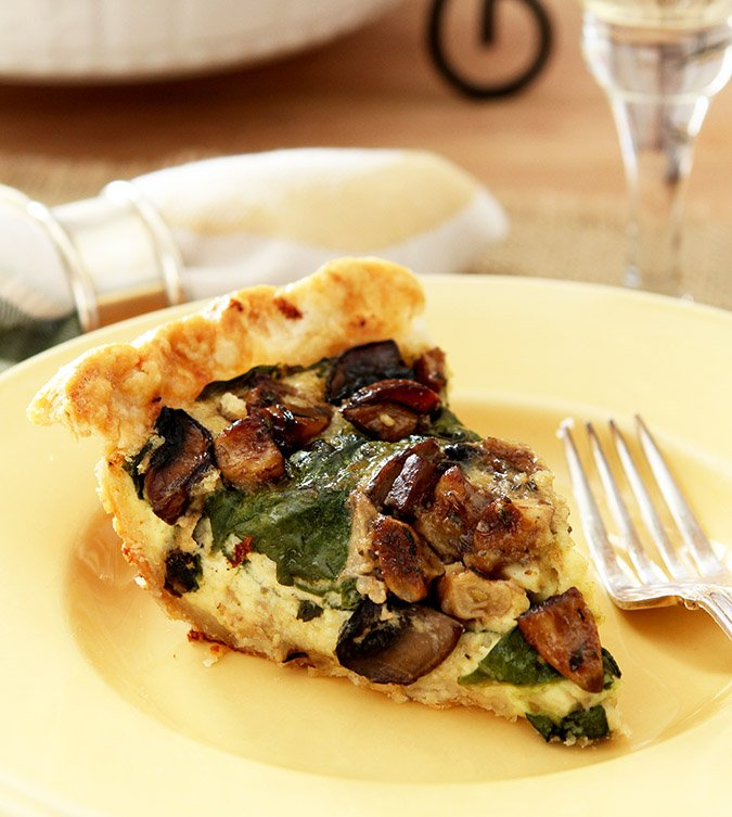 Yellow Plate with Slice of Caramelized Garlic, Spinach and Mushroom Tart